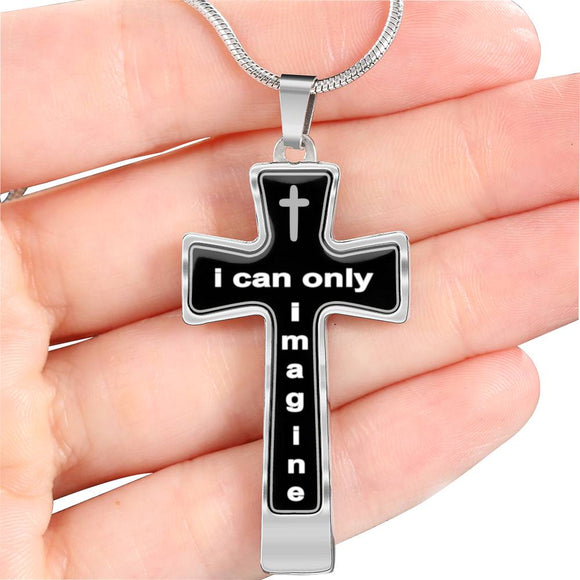 Mercy Me's I Can Only Imagine Inspired Cross Necklace - Silver on Black Colors - with Engraving Option