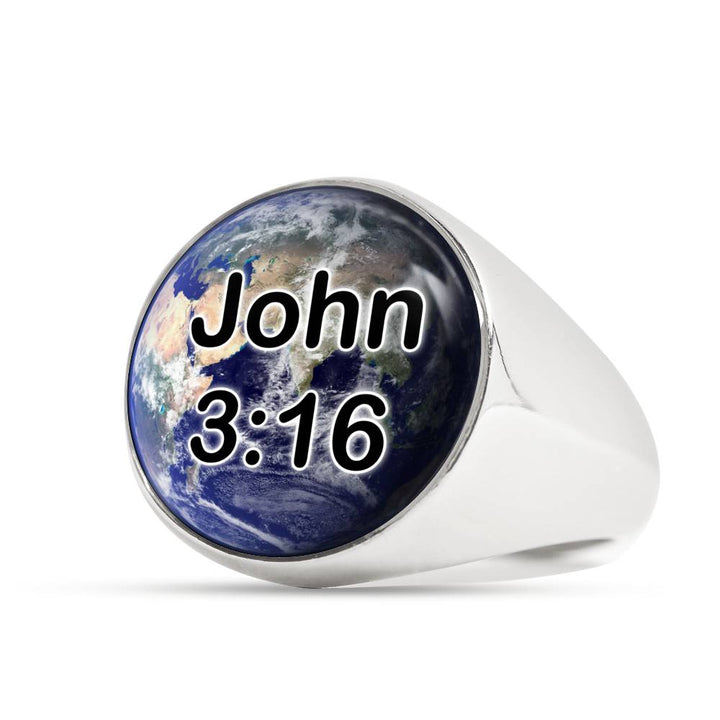 John 3:16 Earth Stainless Steel Signet Ring for Men and Women