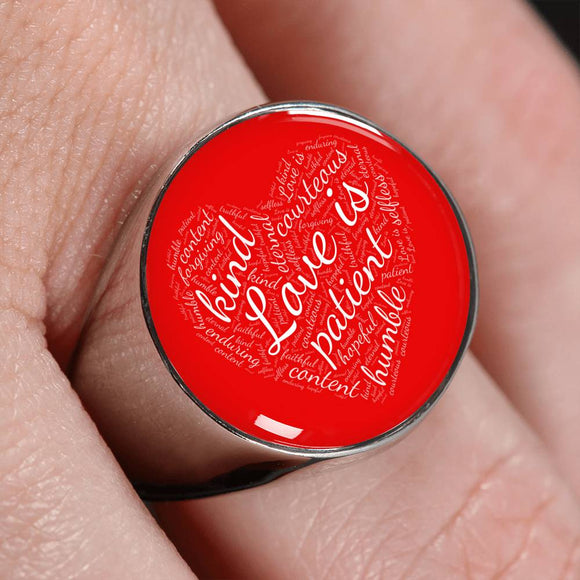 1 Corinthians 13 Heart Signet Ring in Silver or Gold, with Engraving Option. White on Red
