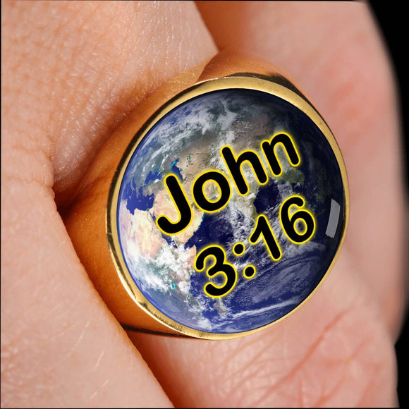 John 3:16 Earth Gold Plated Signet Ring for Men and Women