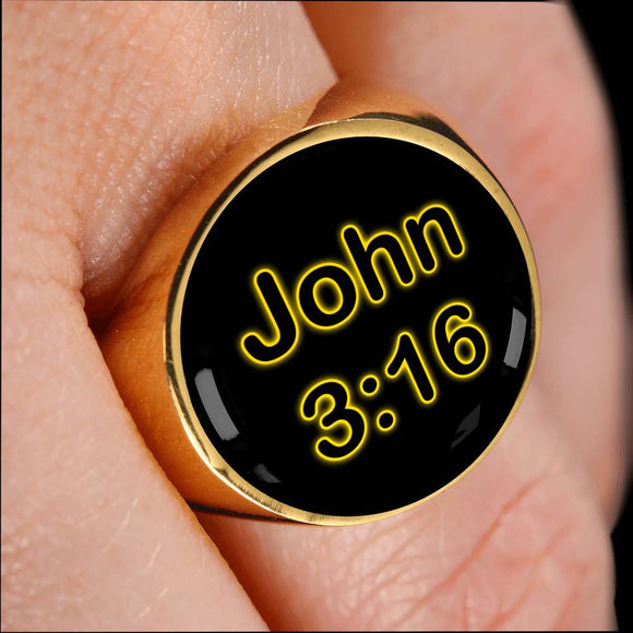 John 3:16 Gold Plated Signet Ring for Men and Women