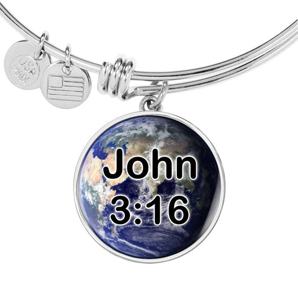 John 3:16 Earth Round Stainless Steel Bangle Bracelet - With Engraving Option - White Glow