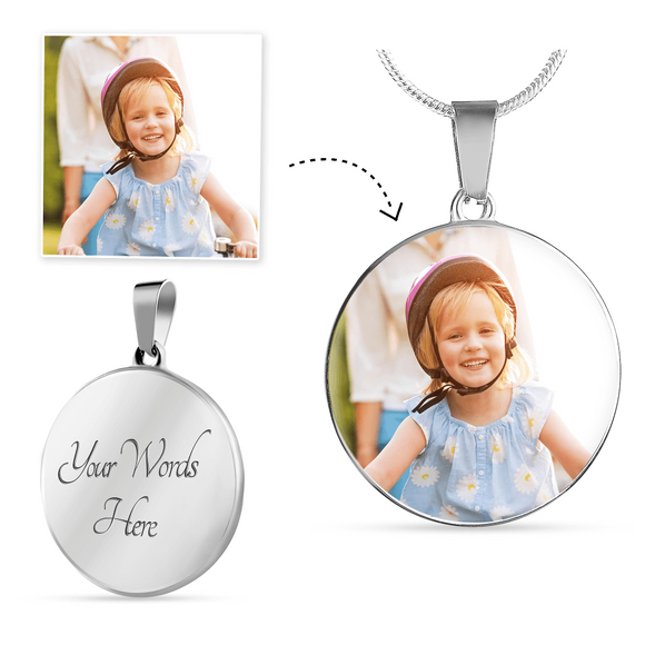 Personalized Custom Photo Round Pendant Necklace with Engraving Option in Sliver or Gold