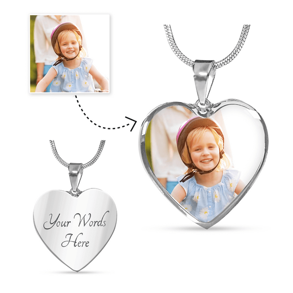 Personalized Custom Photo Heart Pendant Necklace with Engraving Option in Sliver or Gold