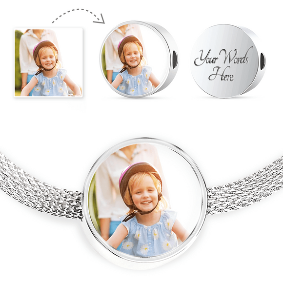 Personalized Custom Photo Circle Charm Stainless Steel Bracelet with Engraving Option