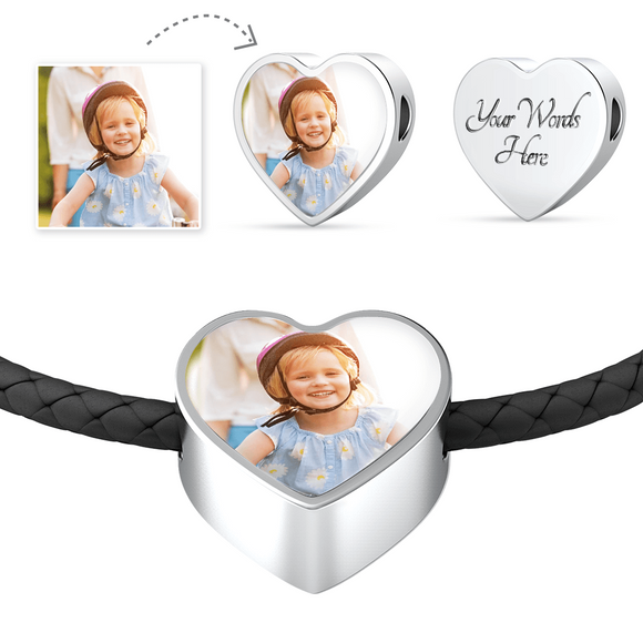 Personalized Custom Photo Heart Charm Black Leather Bracelet with Engraving Option