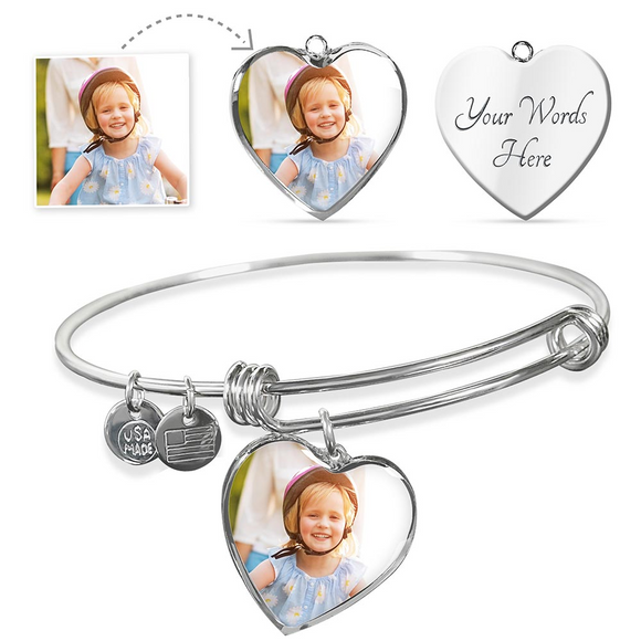 Personalized Custom Photo Heart Bangle Bracelet with Engraving Option in Sliver or Gold