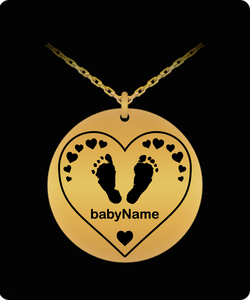 Laser Engraved Personalized Name Heart Footprints Round Pendant - Gold Color