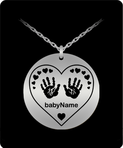 Personalized Name Laser Engraved Heart with Handprints