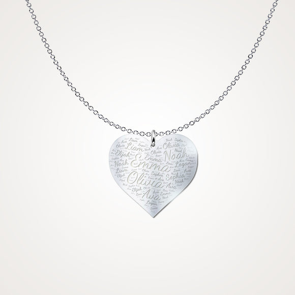 Personalized Multi-Name Word Art Heart - Solid Silver