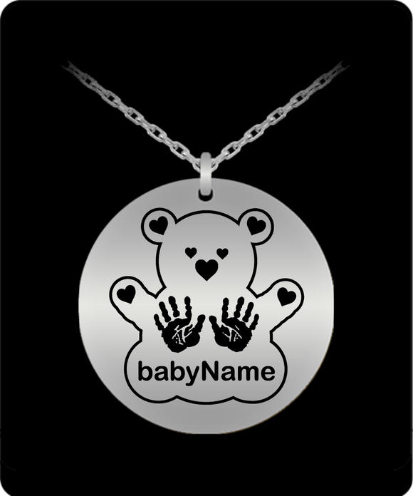 Personalized Name Laser Engraved Teddy with Handprints