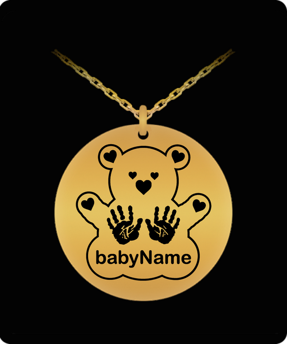 Personalized Name Laser Engraved Teddy with Handprints - gold