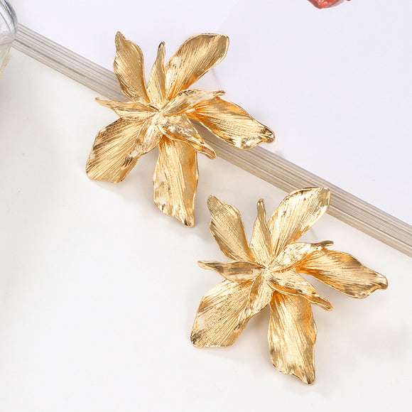 The Olivia | Metal Flower Statement Earring