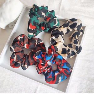 Vibrant Leopard Hair Scrunchie