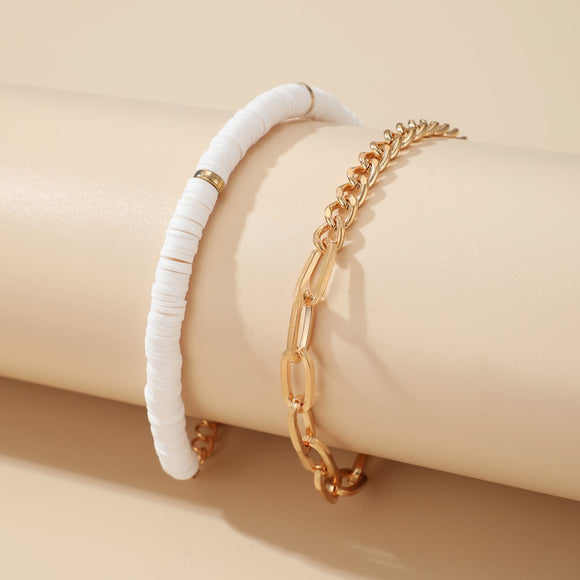White and Gold Bracelet Stack