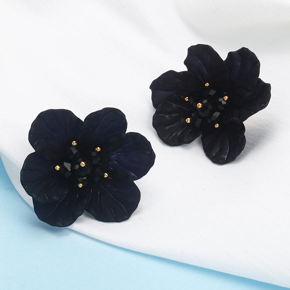 The Kylie | Black Flower Stud Earring