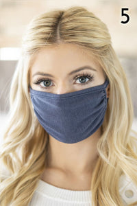 Dark Jean Blue Cotton Reusable Face Mask
