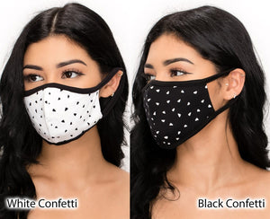 Black and White Confetti Reusable Cotton Face Mask