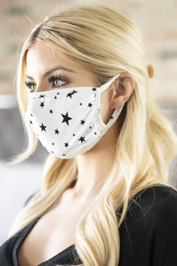 White with Black Stars Cute Cotton Reusable Face Mask
