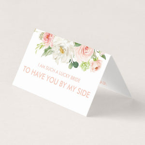 """I am such a lucky bride to have you by my side"" card + organza bag"