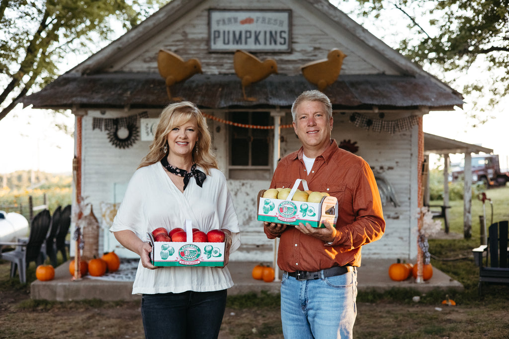 Wayne and Michelle Sirles at Rendleman Orchards in Alto Pass, Illinois. Southern Illinois fruit orchard. Midwest family-owned farm.