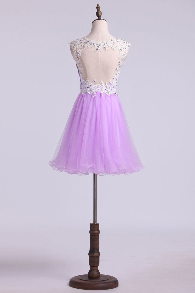 Short/Mini Prom Dress A Line Tulle Skirt With Embellished Bodice Beaded