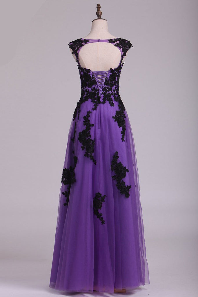 Tulle Evening Dresses Bateau Cap Sleeves A Line With Applique And Beads