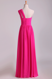 Fuchsia One Shoulder A Line Chiffon Bridesmaid Dresses