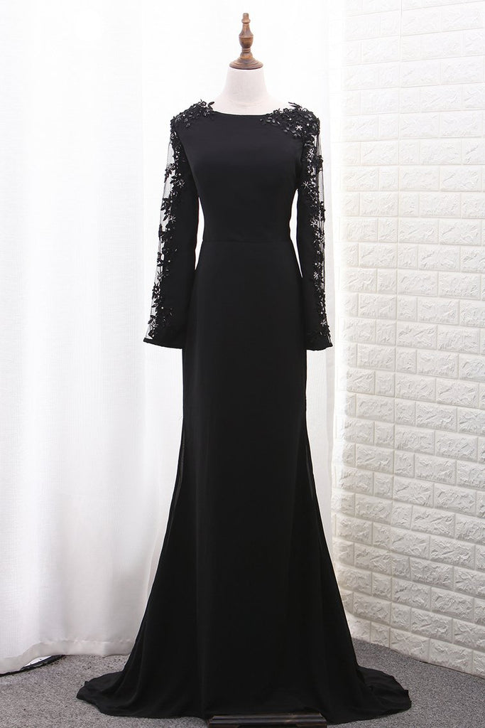 Chiffon Long Sleeves Scoop Mermaid Evening Dresses With Applique