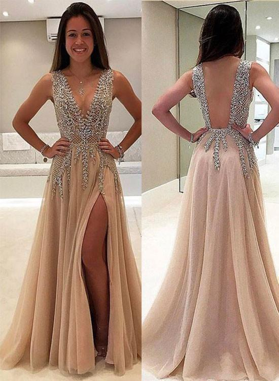A-line V-neck Nude Tulle with Slit Sexy Shinny Rhinestone Long Prom Dresses