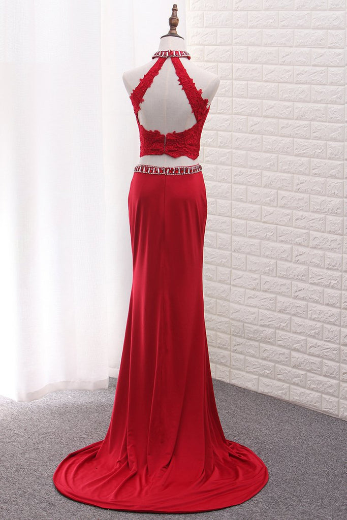 Two Pieces High Neck Spandex Prom Dresses With Applique And Beads Sweep Train