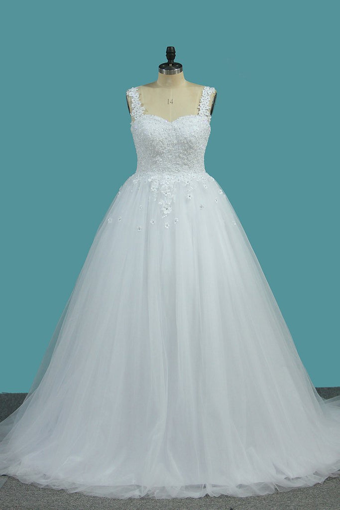 Ball Gown Off The Shoulder Tulle Wedding Dresses With Beads And Handmade Flowers