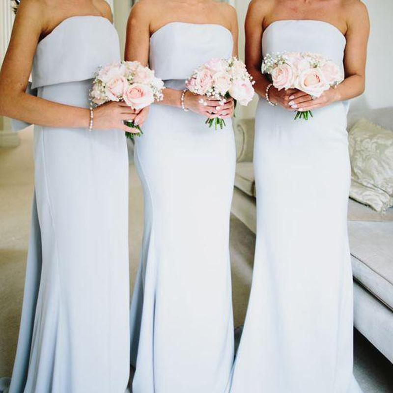 Simple Strapless Grey Satin Cheap Long Bridesmaid Dresses GD00002