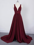 Burgundy A Line Deep V Neck Cheap Bridesmaid Dresses For Wedding GD00001