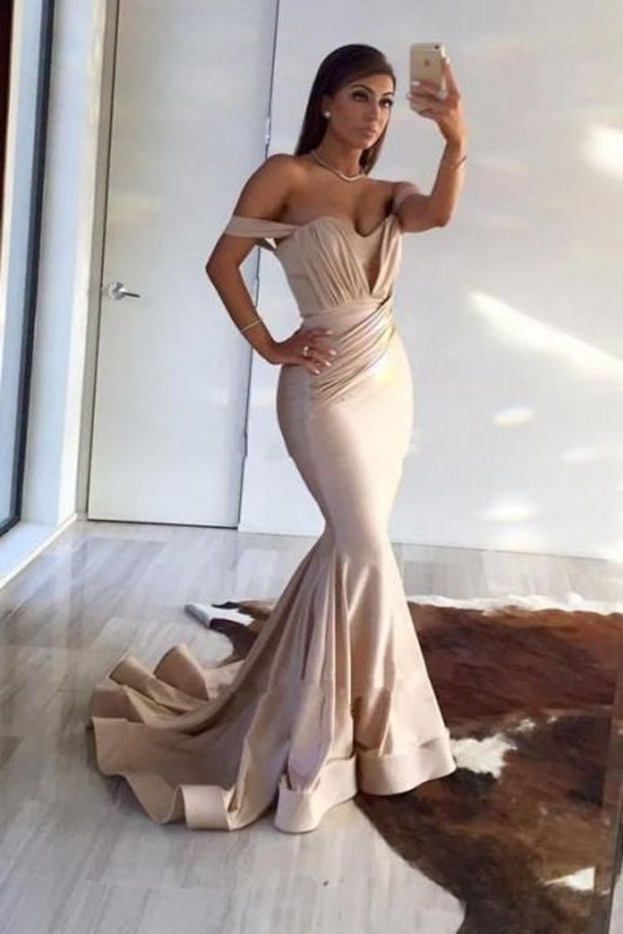 Off The Shoulder Mermaid With Ruffles Evening Dresses  Sweep Train