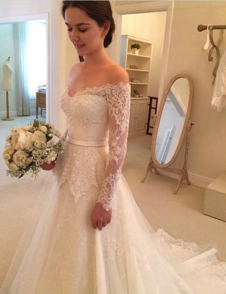 Wedding Dresses A Line Long Sleeves Tulle With Applique And Sash