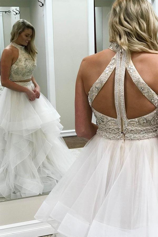 A line Ivory Beads Halter Ruffles Prom Dresses Long Open Back Party Dresses JS693