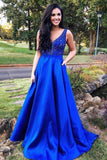 A Line Royal Blue Straps Satin Beads Prom Dresses with Pockets Long Formal Dresses JS748