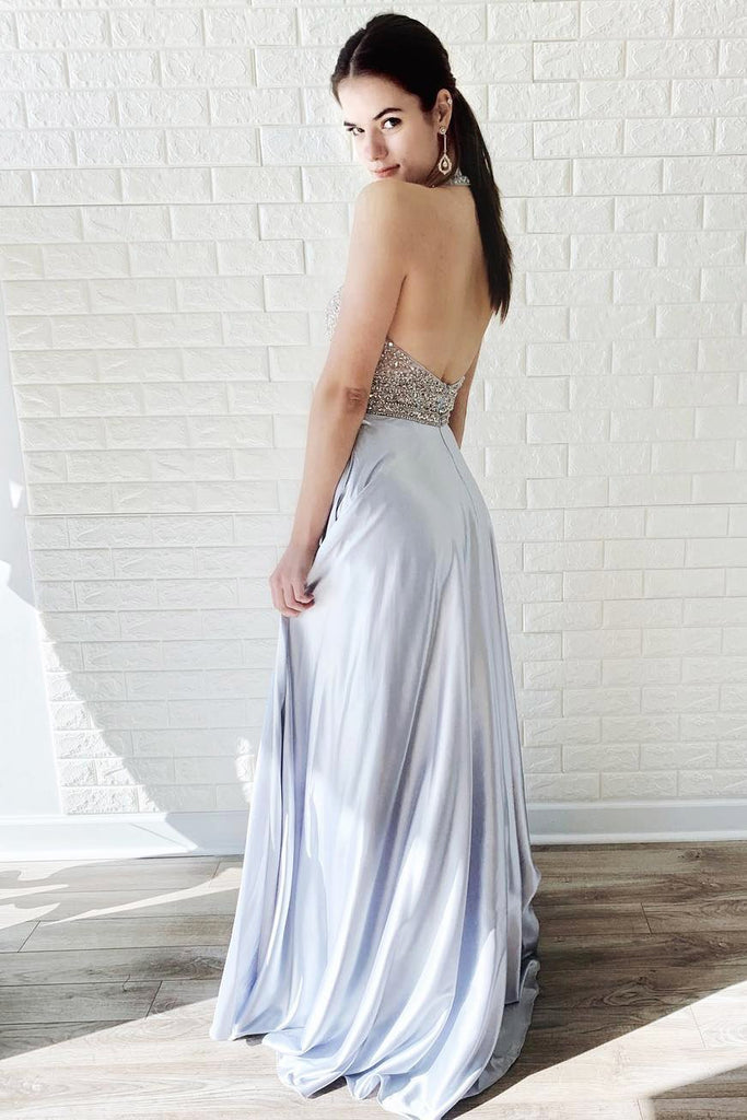 Halter Chiffon Backless Beads A Line Sleeveless Prom Dresses Evening Dresses JS767
