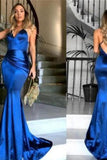 Sheath Royal Blue Long Open Back Sexy Prom Dresses Evening Dresses
