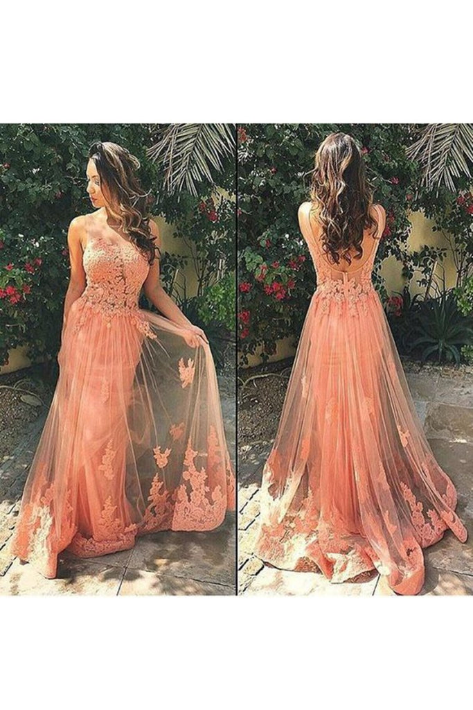 Tulle Prom Dresses Scoop With Applique Sweep Train A Line