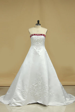 Hot Selling Wedding Dresses A Line Strapless Sweep/Brush Train Satin