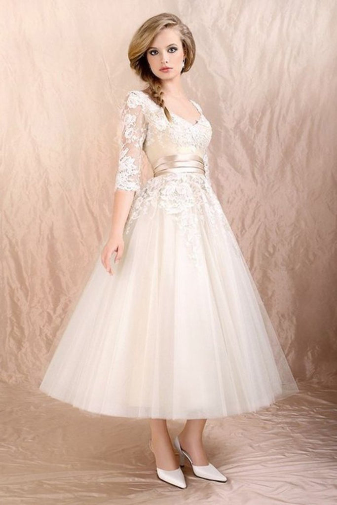 2019 Prom Dresses Scoop A Line With Applique And Ribbon Tea Length