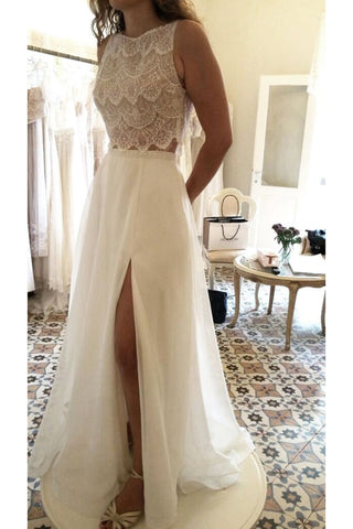 2019 New Arrival Scoop Wedding Dresses A Line With Slit Chiffon & Lace