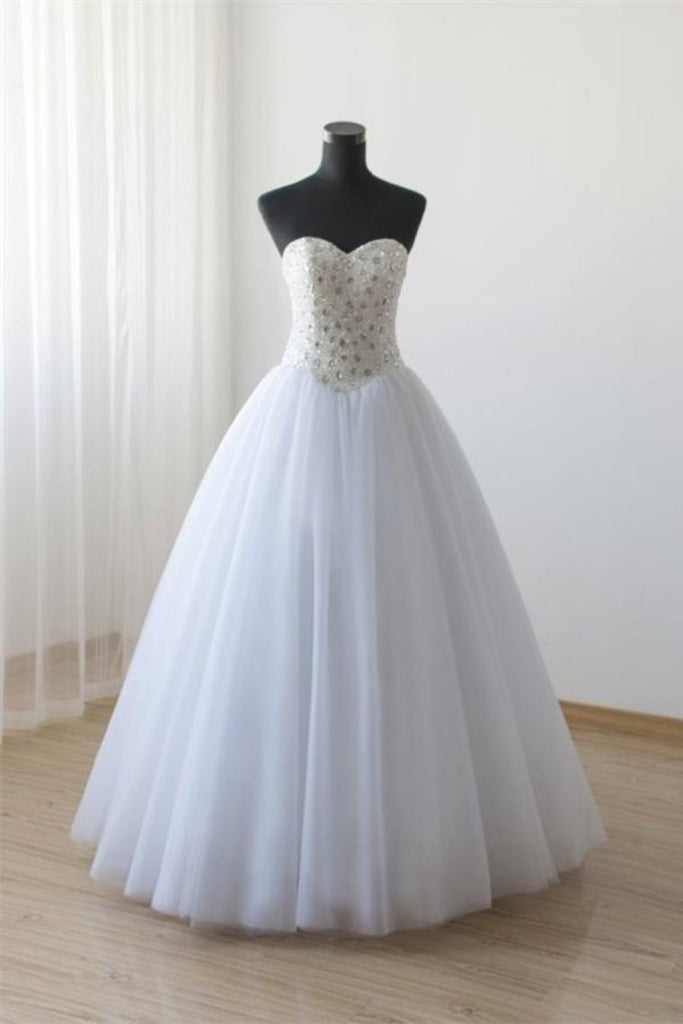 Pretty Lace Up White Ball Gown Beading Princess Dresses Wedding Dresses
