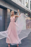 Simple A Line Pink V Neck Tulle Sleeveless Prom Dresses Long Bridesmaid Dresses SJS15383