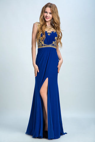 Scoop Neckline Column Beaded Bodice Prom Dresses With Court Train Slit