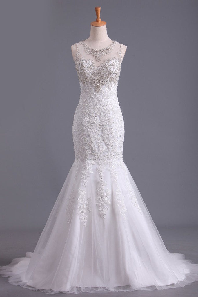 Scoop Wedding Dresses Mermaid/Trumpet Sweep Train Tulle With Applique And Beads