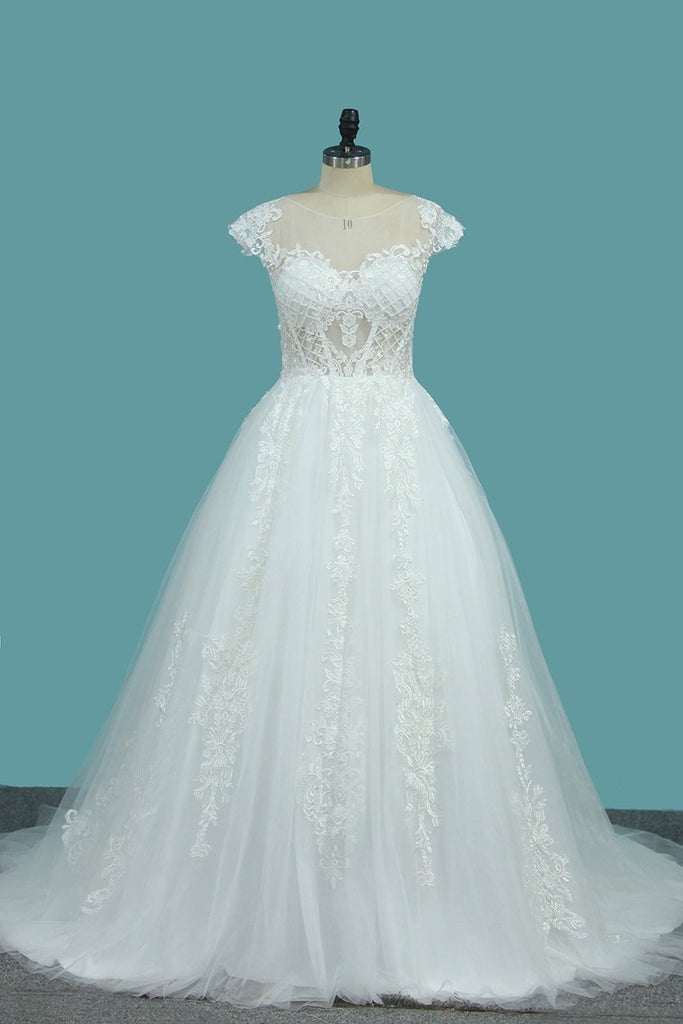Scoop Short Sleeves Tulle A Line Wedding Dresses With Applique Chapel Train