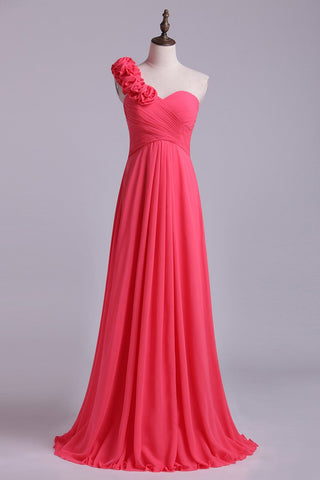 One Shoulder A Line Bridesmaid Dress With Handmade Flowers Chiffon